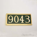 Four Numeral Address Marker Plaque - Solid Brass - Classic Green