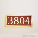Four Numeral Address Marker Plaque - Solid Brass - Redwood