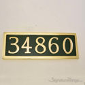 Five Numeral Address Marker Plaque - Solid Brass - Classic Green