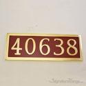 Five Numeral Address Marker Plaque - Solid Brass - Redwood