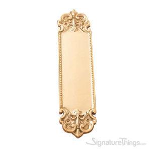 """Fleur De Lis Push Plate 3"""" x 12-3/4"""" - Polished Brass"""