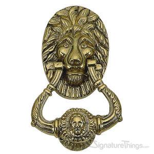 """Lion Door Knocker 7-1/2"""" -  Polished Brass"""