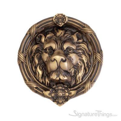 """Leo Lion Door Knocker 8-3/8"""" -  Antique Brass"""
