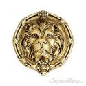 """Leo Lion Door Knocker 8-3/8"""" -  Highlighted Brass"""