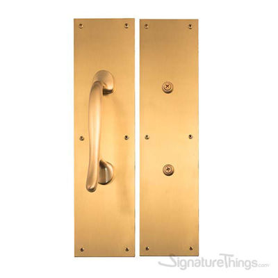 Antimicrobial Push & Pull Plate Set - Satin Brass