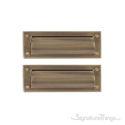 "Flaps Both Sides Brass Mail Slot - 3"" x 10"" -  Antique Brass"