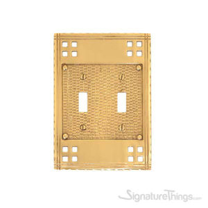 Arts & Crafts Double Switch-Polished Brass