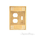 Arts & Crafts Double; 1-Switch/1-Outlet-Polished Brass