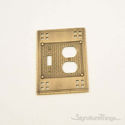 Arts & Crafts Double; 1-Switch/1-Outlet-Antique Brass