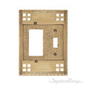 Arts & Crafts Double; 1-Switch/1-GFCI-Polished Brass