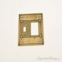 Arts & Crafts Double; 1-Switch/1-GFCI-Antique Brass