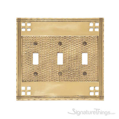 Arts & Crafts Triple Switch-Polished Brass