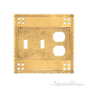 Arts & Crafts Triple; 2-Switch/1-Outlet-Polished Brass