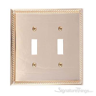 Georgian Double Switch-Polished Brass