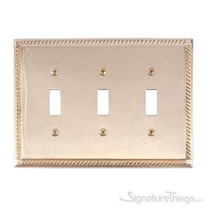 Georgian Triple Switch-Polished Brass