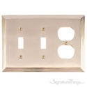 Classic Steps Triple; 2-Switch/1-Outlet-Polished Brass