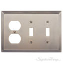 Classic Steps Triple; 2-Switch/1-Outlet-Antique Brass