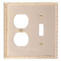 Egg & Dart Double; 1-Switch/1-Outlet-Polished Brass