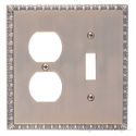 Egg & Dart Double; 1-Switch/1-Outlet-Antique Brass