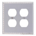 Egg & Dart Double Outlet-Satin Nickel