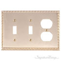Egg & Dart Triple; 2-Switch/1-Outlet-Polished Brass
