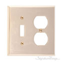 Quaker Double; 1-Switch/1-Outlet-Polished Brass