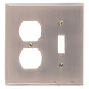 Quaker Double; 1-Switch/1-Outlet-Antique Brass