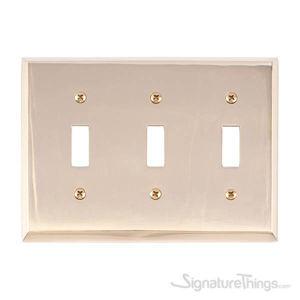 Quaker Triple Switch-Polished Brass