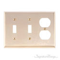 Quaker Triple; 2-Switch/1-Outlet-Polished Brass