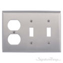 Quaker Triple; 2-Switch/1-Outlet-Satin Nickel