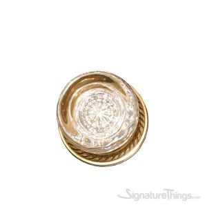 Empire Round Crystal Door Knob with Circle Rosette - Polished Brass