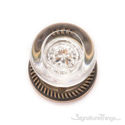 Empire Round Crystal Door Knob with Circle Rosette - Antique Brass
