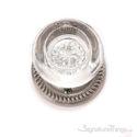 Empire Round Crystal Door Knob with Circle Rosette - Satin Nickel