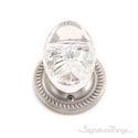 Georgetown Oval Crystal Door Knob with Circle Rosette - Satin Nickel