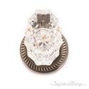 Savannah Fluted Crystal Door Knob with Rosette - Antique Brass