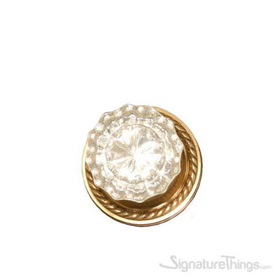 Victorian Fluted Glass Door Knob with Rosette - Polished Brass