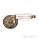Charleston Kinsman Door Lever with Round Rosette - Antique Brass