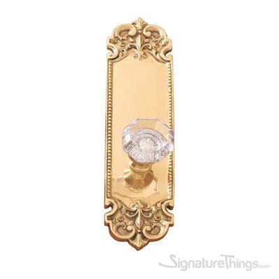 Fleur De Lis Plate Hartford Door Knob - Polished Brass