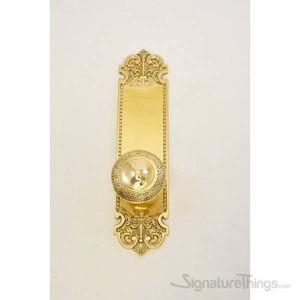 Fleur De Lis Plate Laurel Door Knob - Polished Brass