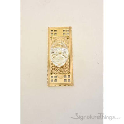Arts and Crafts Georgetown Oval Crystal Door Knob with Rectangle Rosette - Polished Brass