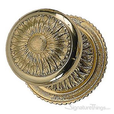 Sunburst Door Knob with Rosette - Polished Brass