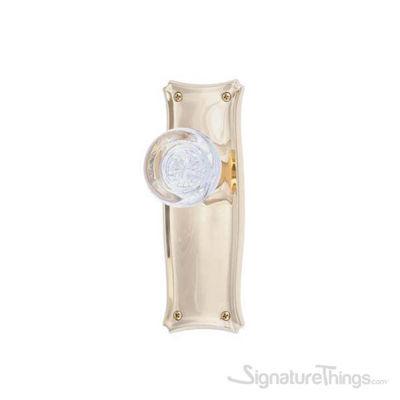Manhattan Empire Round Crystal Door Knob with Rosette -  Polished Brass