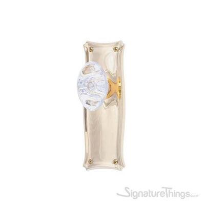 Manhattan Georgetown Oval Crystal Door Knob - Polished Brass
