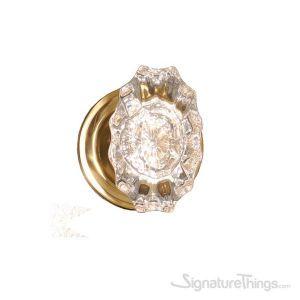 Netropol Savannah Fluted Crystal Door Knob with Rosette - Polished Brass