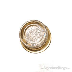 Netropol Empire Round Crystal Door Knob with Circle Rosette - Polished Brass