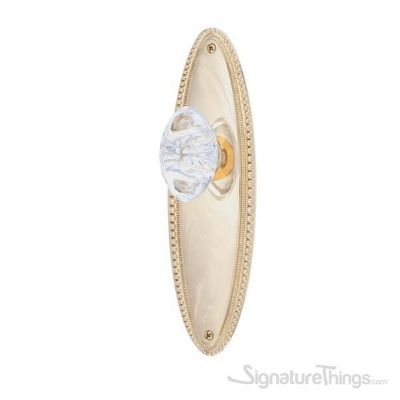 Revere Georgetown Oval Crystal Door Knob with Rosette - Polished Brass