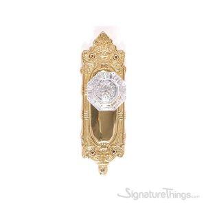 Victorian Hartford Door Knob with Rosette - Polished Brass