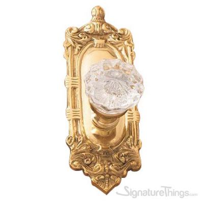 Victorian Fluted Glass Door Knob - Polished Brass