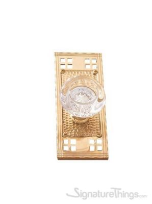 Arts & Crafts Empire Round Crystal Door Knob With Rectangle Rosette - Polished Brass