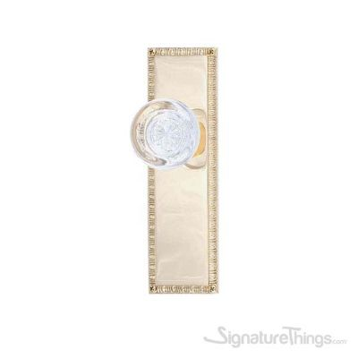 "EGG & DART 8-3/8"" Empire Round Crystal Door Knob - Polished Brass"